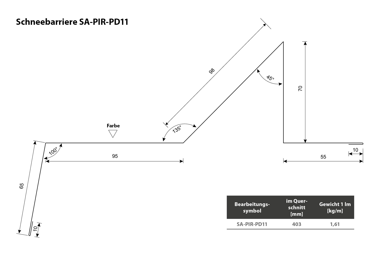 Schneebarriere SA-PIR-PD11 Querschnitt